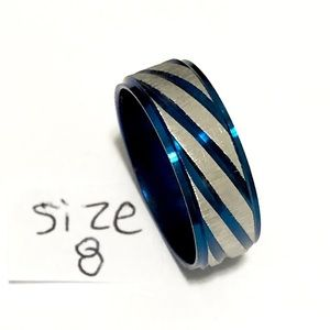 Blue and Silver Tone Ring, Size 8
